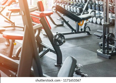 health exercise equipment for bodybuilding in modern fitness center gym room