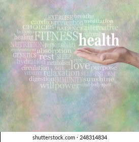 Health and Fitness Word Wall - Male hand outstretched with the word 'health' floating above, surrounded by relevant health words on a stone effect green and blue rustic grunge background