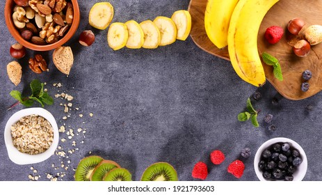 health food- assorted of nuts, fruits and oat