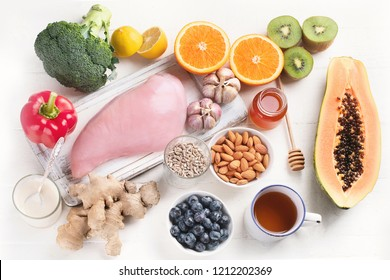 Health  food to boost immune system. Hgh in antioxidants, minerals and vitamins. Flat lay