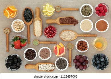 Health food for dieting  with nutritional powder, supplements, fruit, pulses, nuts, cereals & grains including herbs used as appetite suppressants. High in omega 3, antioxidants, protein & fibre.