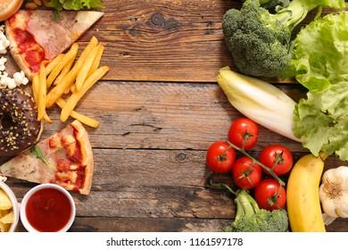 health food or junk food concept
