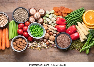 Health food for vegan cooking. Foods high in antioxidants, carbohydrates and vitamins. Clean and detox eating, alkaline diet, vegetarian concept