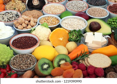 Health food for vegans with tofu bean curd, grains, crackers, almond yoghurt, vegetables, sos mix, fruit, legumes, cereals, herbs, nuts & seeds. High in antioxidants, fibre, omega 3 & vitamins.