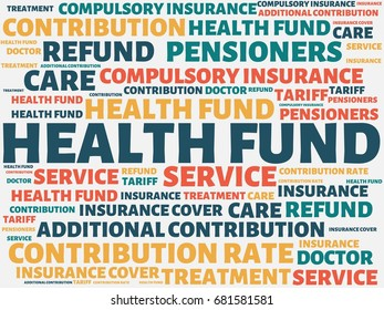 - HEALTH FUND - image with words associated with the topic HEALTH INSURANCE, word, image, illustration