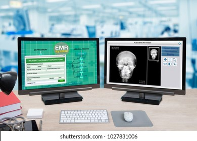 Health information and patient x-ray show on two computer monitors on doctor desk with blue background of hospital office.