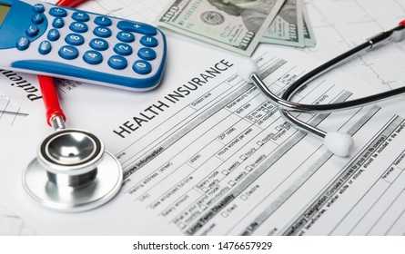 Health insurance application form with banknote and stethoscope concept for life planning