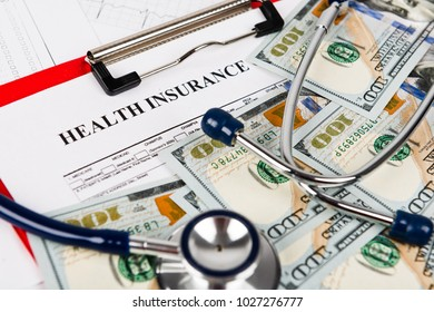 Health insurance application form with banknotes concept for life planning