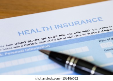 Health insurance application form with pen concept for life planning