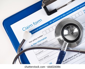Health insurance claim form. The insurance policy covers the cost of treatment. Healthcare, medical treatment, health insurance, settlement and safety concept.