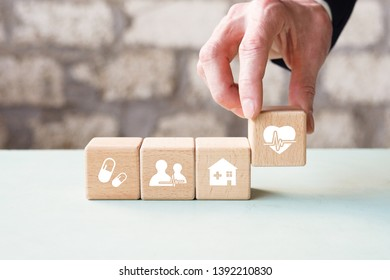 Health Insurance concept, doctor hand arranging wood block stacking with icon healthcare medical.