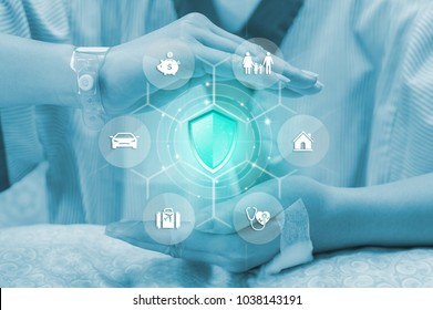 Health Insurance concept, Protection Shield with icon flow insurance. Property, Health, Life, Travel, Vehicle, and financial. against Blurred patient in the room is the backdrop.