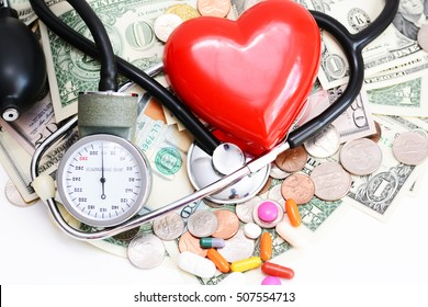 Health insurance concept with red heart, pills and medical instruments on money pile
