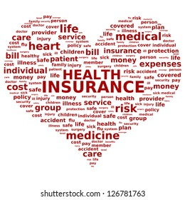 Health insurance concept. Tag cloud.