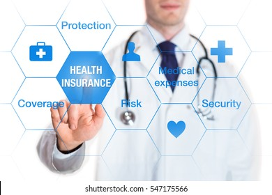 Health insurance concept with words coverage, protection, risk, and security on a virtual screen and a medical doctor touching a button, isolated on white background
