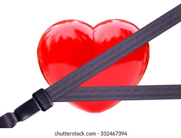 Health insurance concept.Safety belt Safety Heart.clipping path
