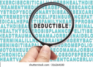 Health Insurance conceptual focusing on Deductible