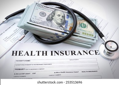 Health insurance form with money and stethoscope concept for life planning