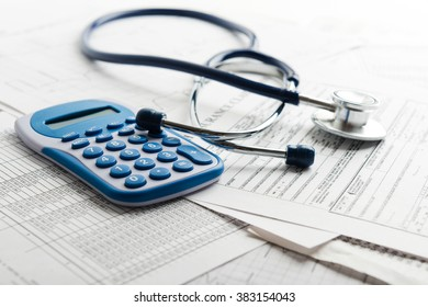 Health insurance form with stethoscope concept for life planning