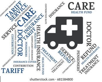 - HEALTH INSURANCE - image with words associated with the topic HEALTH INSURANCE, word, image, illustration
