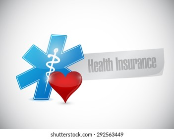 Health Insurance love sign concept illustration design graphic