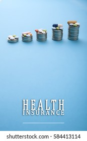 Health insurance with pills and coins
