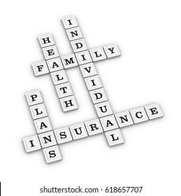 Health insurance plans crossword puzzle. Healthcare concept. 3D illustration on white background.
