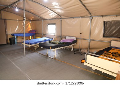 health isolation tent from the Coronavirus arising at Alia Governmental Hospital in the West Bank, Palestine / April 23, 2020