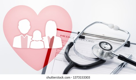 Health and life insurance concept. Heart and family icons. Stethoscope on medical record.