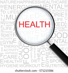 Health. Magnifying glass over seamless background with different association terms. Health Concept.