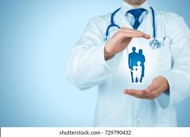Health (medical) and life insurance for the whole family concept. Practitioner doctor with protective gesture and icon of family.