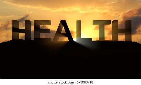 Health on Sunset Landscape 3d rendering