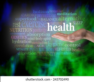 Health in the palm of your hand - Male hand outstretched with the word 'Health' floating above, surrounded by a word cloud on a vibrant green and blue modern grunge background