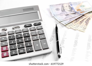 Health planning concept. Calculator, dollars and pen on bill background