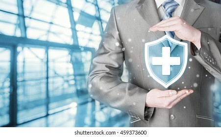 Health protection and insurance. Medical healthcare. Business in health safety. Terminal background. Airport, railroad station.