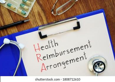 Health reimbursement arrangement HRA is shown on the conceptual business photo - Shutterstock ID 1808712610