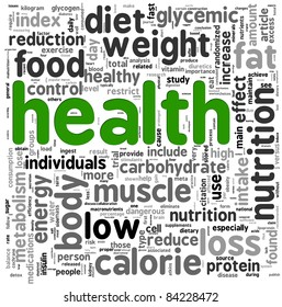 Health related words concept in tag cloud