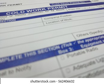 Health Safety and Environment (HSE) cold work permit for permit to work system. Its a tools to ensure safety compliance and approval before start the work in oil and gas industries.