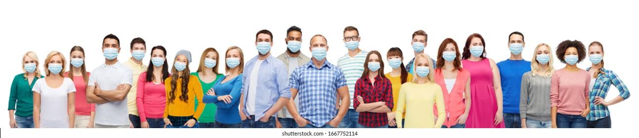 健康、安全、および世界的流行のコンセプト – ウイルスから保護するために保護用の医療用マスクを付けた人々のグループ