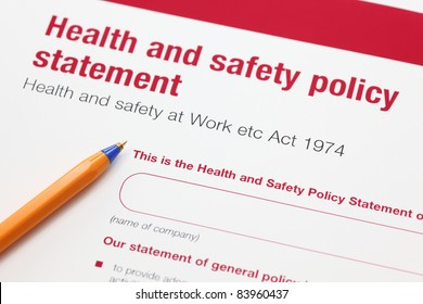 Health and safety policy statement and ballpoint pen.