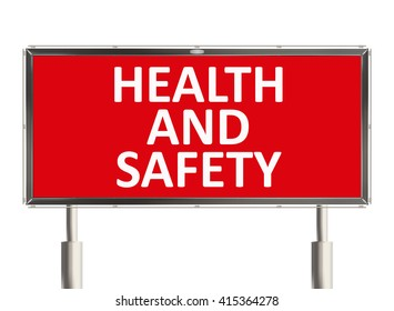 Health and safety. Road sign on the white background. Raster illustration.