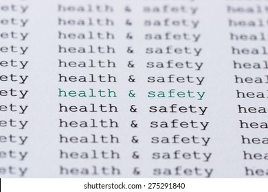 Health & Safety text type highlighted green amongst similar black text