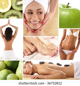 Health and spa collage illustrating spa treatments, dieting, healthy nutrition, yoga, alternative therapy and etc.