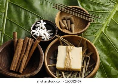Health spa and green leaf