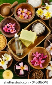 health spa setting and banana leaf  - Shutterstock ID 345686048