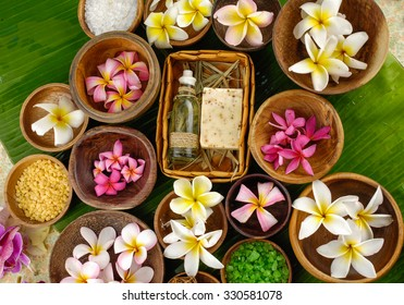 health spa sitting and banana leaf close up - Shutterstock ID 330581078