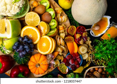 Health and super food to boost immune system, high in antioxidants, anthocyanins, minerals and vitamins., as honey, nuts, turmreic, fruits, vegetables