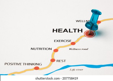 Health as target in the wellness road. Conceptual image where the cities are the principles that lead to the health target. Selective focus on the thumbtack.
