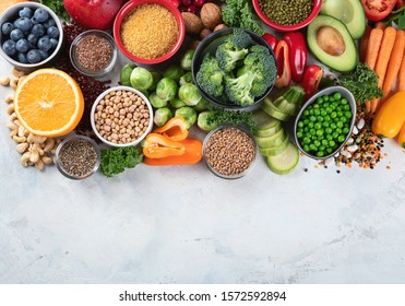 Health vegan and vegetarian food concept. Foods high in  antioxidants, fiber, smart carbohydrates and vitamins.Top view with copy space