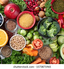 Health vegan and vegetarian food concept. Foods high in  antioxidants, fiber, smart carbohydrates and vitamins.Top view